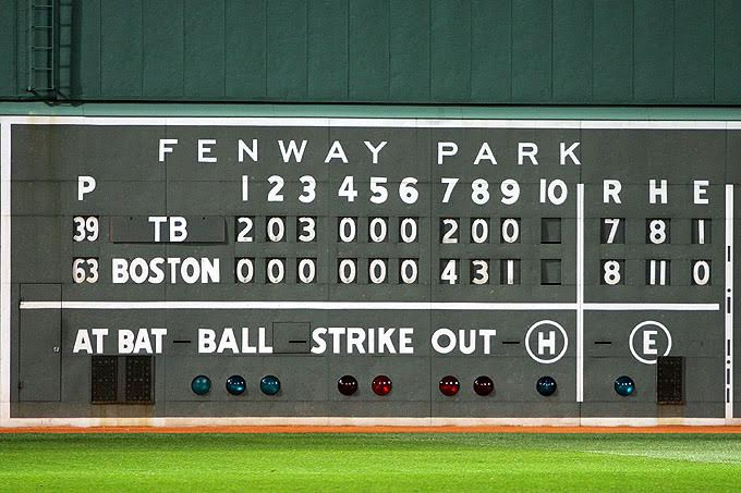 BOSTON - OCTOBER 16: The final scoreboard is seen after the Boston Red Sox defeated the Tampa Bay Rays after game five of the American League Championship Series during the 2008 MLB playoffs at Fenway Park on October 16, 2008 in Boston, Massachusetts. The Red Sox defeated the Rays 8-7 to set the series at 3-2 Rays. (Photo by Jim McIsaac/Getty Images)