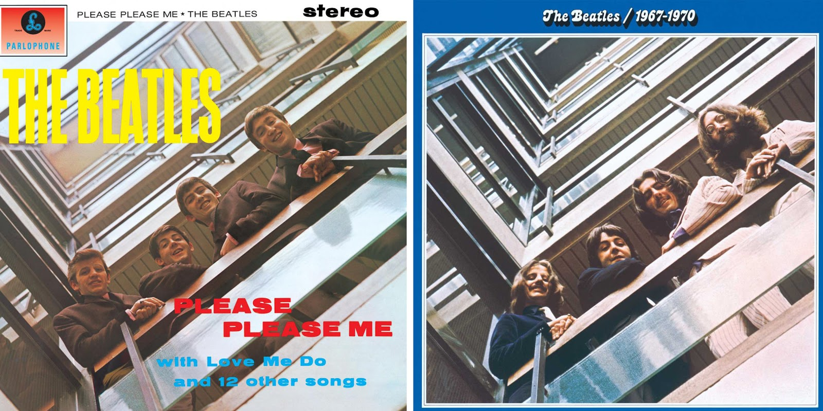 Os álbuns Please Please Me e The Beatles 1967-1970 [Créditos: Parlophone Records/Apple Records]
